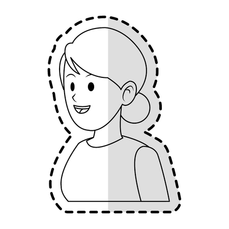 bun: happy pretty woman with hair in bun icon image vector illustration design Illustration