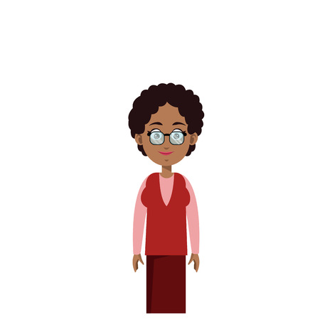 old woman cartoon icon over white background. colorful design. vector illustration Illustration