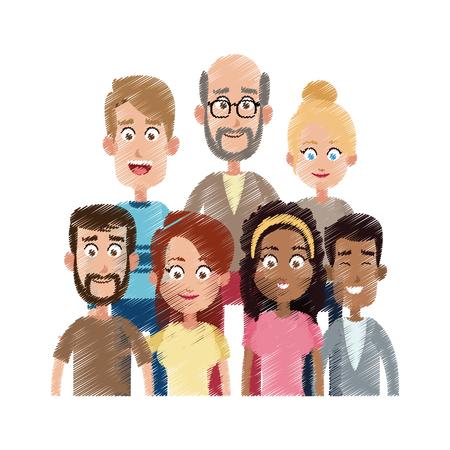 unterschiedliches schauendes Leuteikonenbildvektor-Illustrationsdesign Vektorgrafik