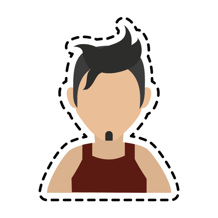 faceless man with dark hair goatee and sleeveless top icon image vector illustration design Illustration