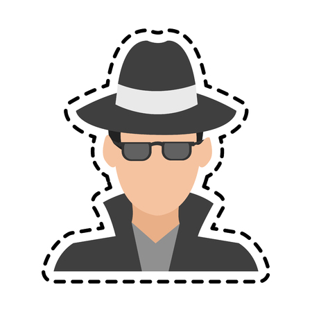 hacker man cartoon icon over white background. colorful design. vector illustration Illustration