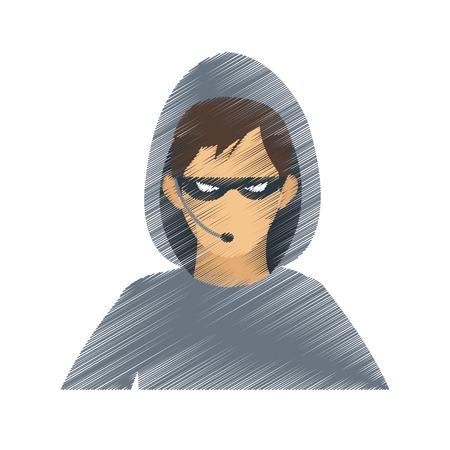 man hacker icon image vector illustration design