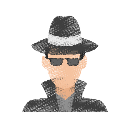 suspicious looking man criminal icon image vector illustration design