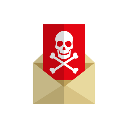 lcd: envelope with skull icon over white background. cyber security concept. colorful design. vector illustraiton