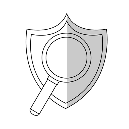 icons site search: shield with magnifying glass icon over white background. vector illustration Illustration