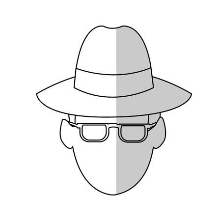 secret identities: hacker man cartoon icon over white background.  vector illustration