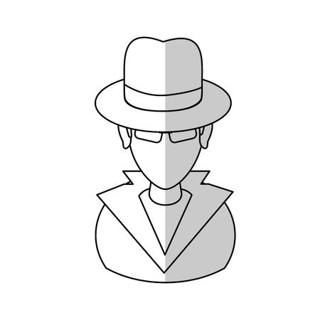 hacker man cartoon icon over white background.  vector illustration
