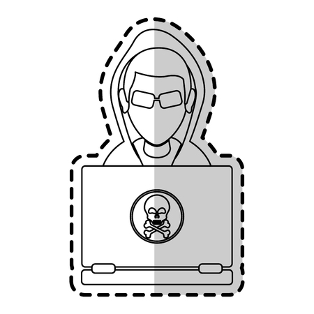 inspector: hacker representation icon image vector illustration design