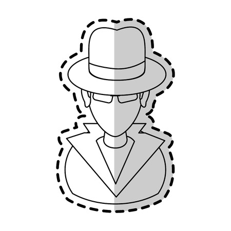 suspicious looking man icon image criminal vector illustration design