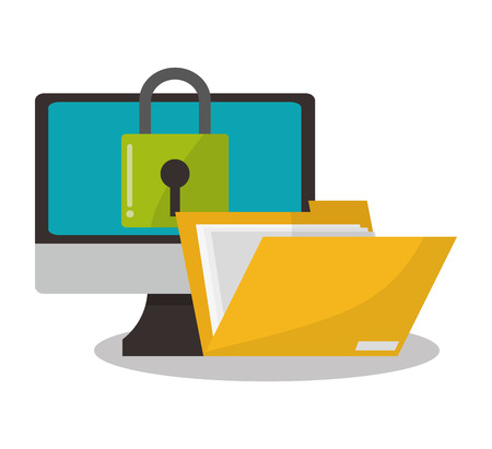 computer with internet security related icons image vector illustration design Illustration