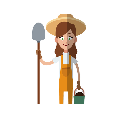 gardener woman cartoon icon over white background. colorful design. vector illutration Illustration