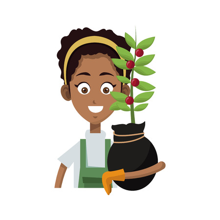gardener woman holding a plant in a pot cartoon icon over white background. colorful design. vector illutration Illustration