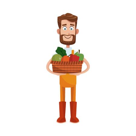 gardener man with basket with vegetables over white background. colorful design. vector illustration Illustration