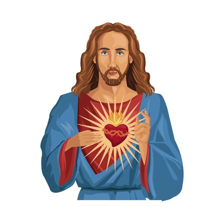 man meditating: Jesus Christ man with sacred heart over white background. colorful design. vector illustration