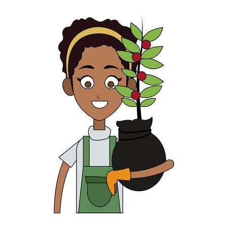 female farmer holding plant cartoon  icon image vector illustration design