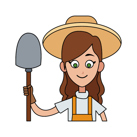 agrarian: female farmer holding shovel cartoon  icon image vector illustration design