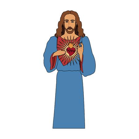 jesus christ with sacred heart icon image vector illustration design