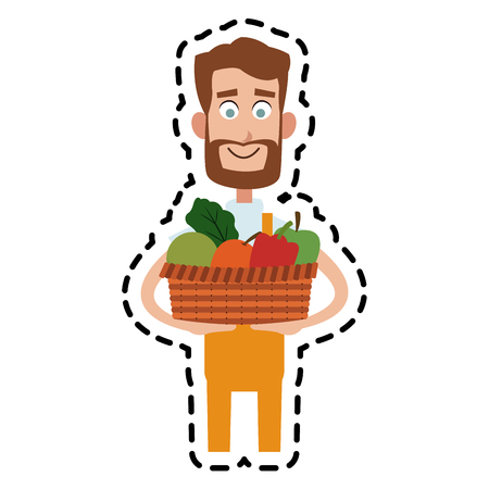 male farmer carrying fruits and vegetables cartoon  icon image vector illustration design