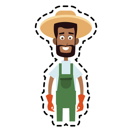 male farmer cartoon  icon image vector illustration design