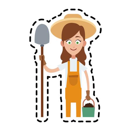 female farmer holding shovel cartoon  icon image vector illustration design