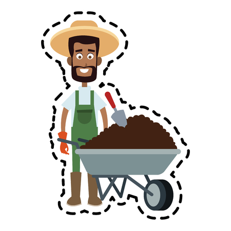 male farmer carrying dirt cartoon  icon image vector illustration design