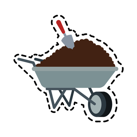 soil or dirt in wheelbarrow icon image vector illustration design