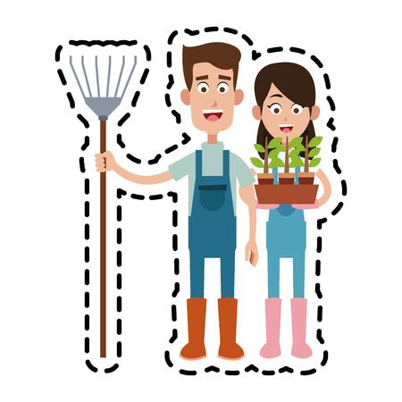 man and woman farmer cartoon  icon image vector illustration design