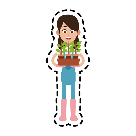 agrarian: female farmer holding plant cartoon  icon image vector illustration design