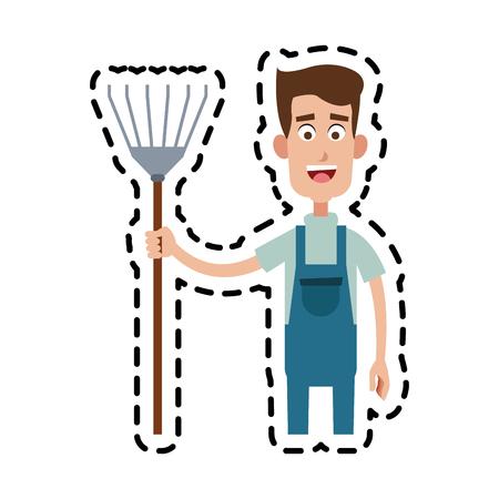 farmer with pitchfork cartoon  icon image vector illustration design