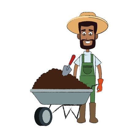 gardening man cartoon icon over white background. vector illustration
