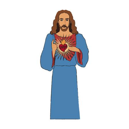 man meditating: Jesus Christ man with sacred heart icon over white background. vector illustration