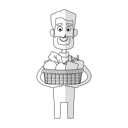 gardening man holding a basket with vegetables cartoon icon over white background. vector illustration