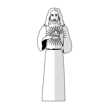 sacred heart: Jesus Christ man with sacred heart icon over white background. vector illustration