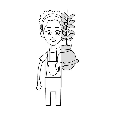 gardener woman holding a plant in a pot cartoon icon over white background. vector illustration Illustration
