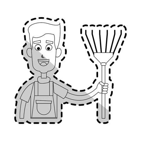 happy male farmer holding rake icon image vector illustration design