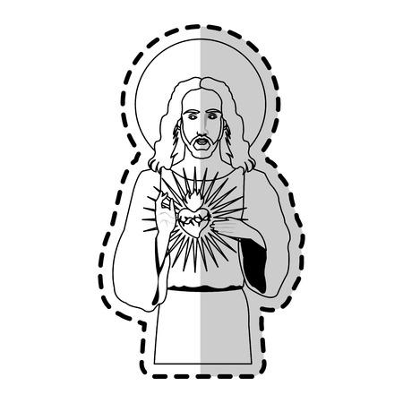 Jesucristo sosteniendo el corazón sagrado icono de imagen cristiana diseño de ilustración vectorial