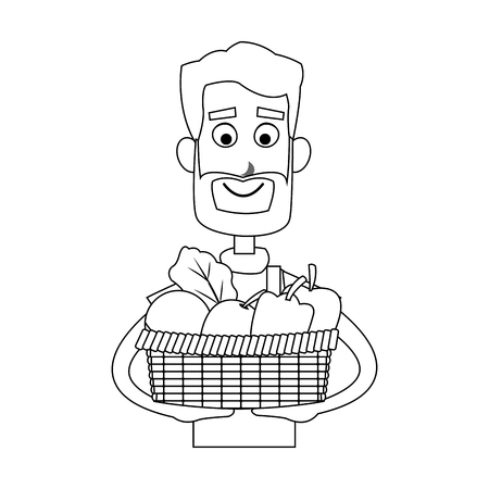 happy male farmer holding basket icon image vector illustration design Illustration