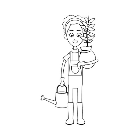 happy female farmer holding plant icon image vector illustration design