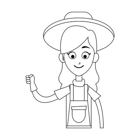 happy female farmer icon image vector illustration design