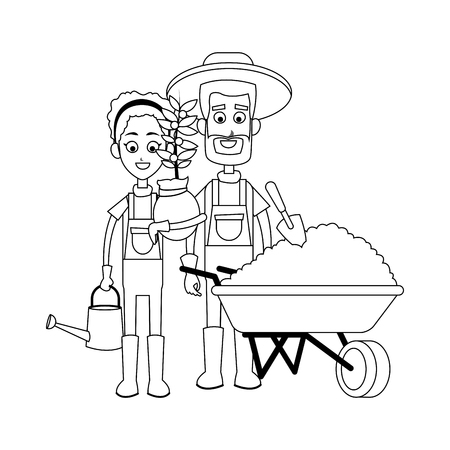 happy farmer man and woman icon image vector illustration design