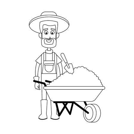 happy male farmer with wheelbarrow icon image vector illustration design