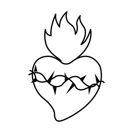 Jesus Christ sacred heart christian icon image vector illustration design