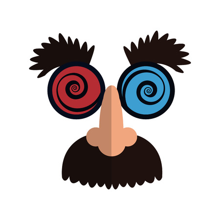 funny Disguise mask icon over white background. april fools day concept. colorful design. vector illustration