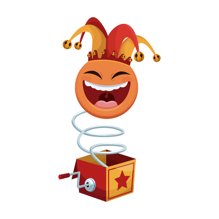 Surprise Box with Funny Joke icon over white background. april fools day concept. colorful design. vector illustration Illustration