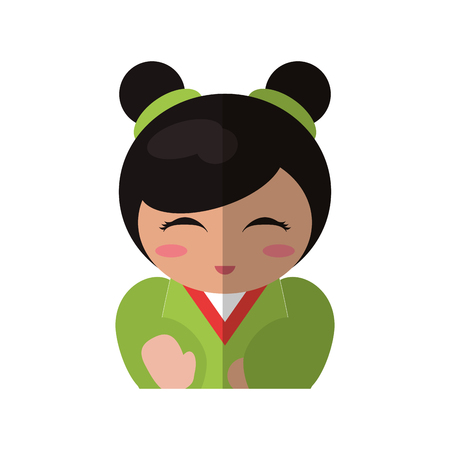 folkart: Portrait doll kokeshi geisha girl vector illustration eps 10.