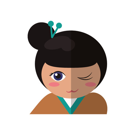 touristic: portrait doll kokeshi geisha girl vector illustration eps 10