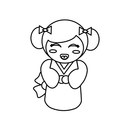 kokeshi: doll kokeshi decoration outline Illustration