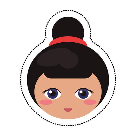 folkart: kokeshi head traditional culture Illustration