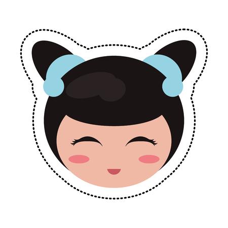 kokeshi head traditional culture Illustration
