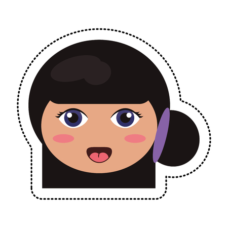 japanese ethnicity: kokeshi head traditional culture Illustration